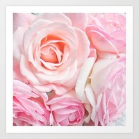 pink roses Art Print by sylviacookphotography