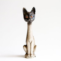 Strange Old Cat Ceramic Figurine - Stylized Kitten Figure