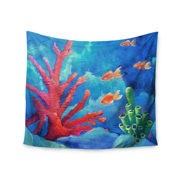"Carol Schiff ""Key Largo"" Blue Coral Painting Wall Tapestry"