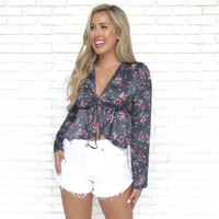 Unrequited Love Blue Floral Peplum Blouse