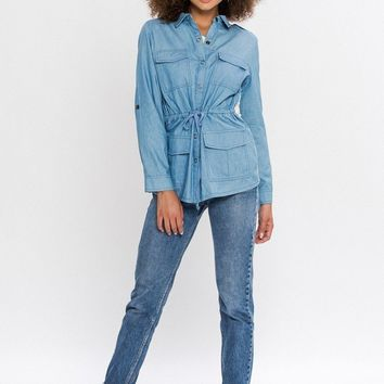 Denim Button Up With Crochet Detail Back SALE