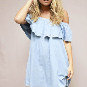 Sweet Blossom Off the Shoulder Denim Dress