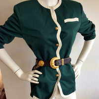 Vintage Halston Jacket Hunter Green Scalloped Cream Trim Size 8