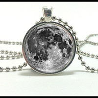 Full Moon necklace  - Glass dome pendant  - Close up of a Full Moon Jewelry