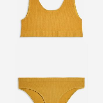Mustard Seamless Sporty Crop Top | Topshop