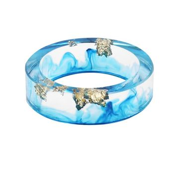 Hot Sale 8 Colors Gold Foil Paper Inside Resin Ring For Women And Men Jewelry Colorful High Quality Handmade Ring
