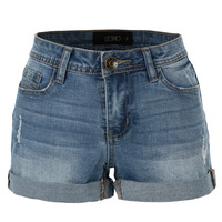 LE3NO Womens Stretchy Medium Rise Denim Shorts with Pockets