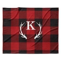 "KESS Original ""Red Plaid Monogram"" Fleece Throw Blanket"