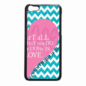 Pink Heart Chevron Bible 1 Corinthians 603d8cde-0556-434b-9757-53418eab10cf FOR iPhone 5C CASE *NP*