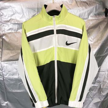 NIKE Fashion New Bust Hook Print And Back Letter Print Women Men Contrast Color Long Sleeve Windbreaker Top Coat Green
