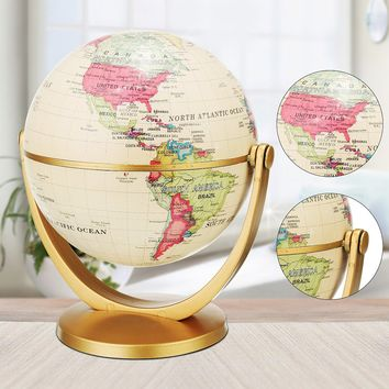 Retro Rotating Desktop Globes Earth Ocean Globe World Geography Table Decor Christmas Gift