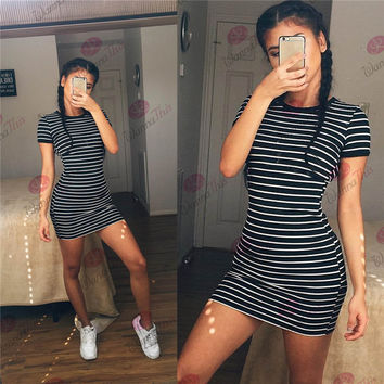 Black White Striped Shift Dress [6259169732]