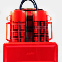 Vintage Aladdin Thermos Tartan Plaid Cloth and Vinyl Tote Picnic Travel Set - Holiday Gift
