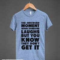 The Awkward Laugh-Unisex Athletic Blue T-Shirt