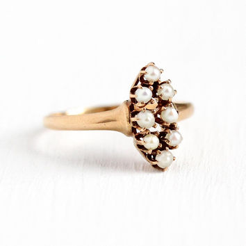 Seed Pearl Ring - Antique 10k Rosy Yellow Gold Edwardian Era 8 Stone Navette - 1910s Size 6 3/4 Dated 6-29 June Dainty Marquise Fine Jewelry