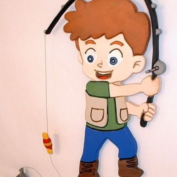 Little Boy Fishing, Wood Sculpture Wall Hanging. Wood Wall Art is great for Home Decor, Wooden Art is Intarsia Wood Art.
