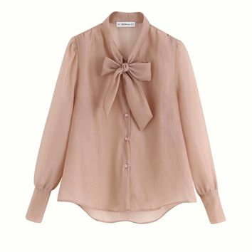 Autumn bow decorative organza blouse blouse