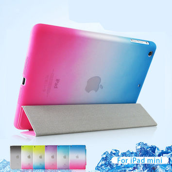 Detached 3 Fold Rainbow Smart case for iPad air 2 Ultra Thin Magnetic Leather Case For iPad mini 2 3 flip cover for ipad 2 3 4