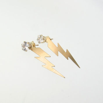 14K Gold Lightning Bolt Earring Studs With CZ - Exclusive Design By Theresa Mink of Classic Designs, Also Available in Sterling Silver