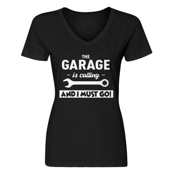 Womens The Garage is Calling V-Neck T-shirt