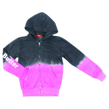 "Butter GIRLS ""SUGAR RUSH"" DIP DYE ZIP HOODIE - CHARCOAL/PINK"