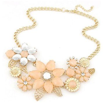 Rhinestone bright flower charm necklace necklace and statement necklaces jewelry