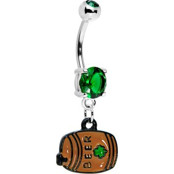 Green Gem Irish Beer Keg Belly Ring