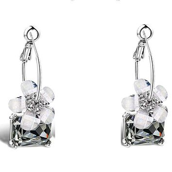 Crystal Colorful White Flower Silver Fashion Earrings