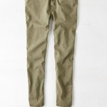 AEO Women's Sateen X Jegging Crop (Olive)