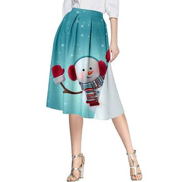 Women's new hot seller Christmas Christmas snowman print skirt