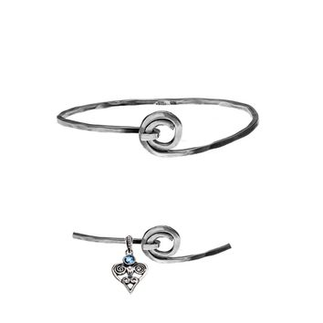 Barnes Metalwork Sterling Silver Charm Collector Bangle