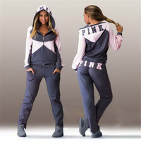 2016 Brand Women Tracksuit suit  Sportswear hoodies Pants track suit set ladies Sweatsuit clothing 2 pieces sets  D494