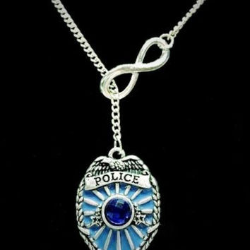 Infinity Blue Police Shield Badge Gift For Police Wife Daughter Lariat Necklace
