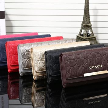 """Coach"" Women Fashion Classic Embossed Long Section Multi-card Bit Three Fold Purse Button Flip Wallet Handbag"