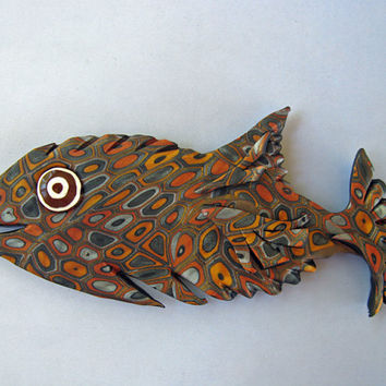 Retro 3D Large Fish Magnet or Wall Art in Earth Tones Polymer Clay