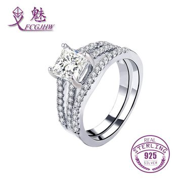 925 Sterling Silver Ring Sets For Women Bride Jewelry Solitaire Cubic Zircon For Wedding Engagement Party Christmas Gifts