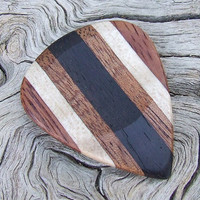 Multiple Woods Premium Guitar Pick - Handmade with Gabon Ebony-African Mahogany-Curly Maple-& Amazon Rosewood