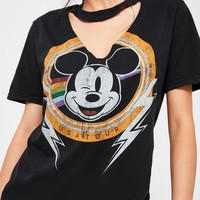 Missguided - Black Mickey Mouse V Neck Cut Out T Shirt