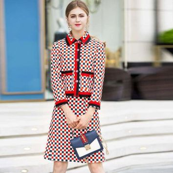 Two Piece Long Sleeve Single Breasted Plaid Print Skirt Suits