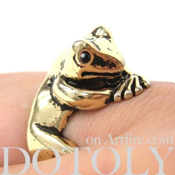 Frog Toad Animal Wrap Around Hug Ring in Shiny Gold - Size 4 to 9 Available