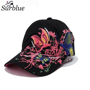 2017 Surblue Top Brand Caps for women girls pink Summer Baseball cap designer black luxury dad Hats flowers Sun Hats sun protect