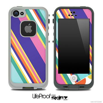 Striped V2 Fun Color Pattern Skin for the iPhone 5 or 4/4s LifeProof Case