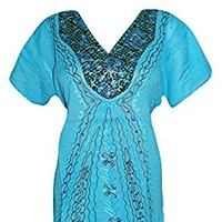 Bohemian Tunic Top Arctic Blue Embroidered V Neck Blouse