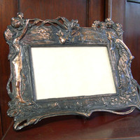 Vintage Art Nouveau Style Frame, Cast Iron Copper Wash Women & Flower Picture Frame