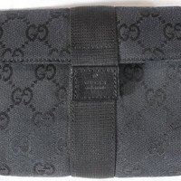 "~~~ ELEGANT & CHIC ~~~ LOVELY GUCCI BLACK ""LEATHER TRIM"" MONOGRAM CLUTCH/BAG"