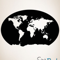 Vinyl Wall Decal Sticker Global Map #OS_MB183