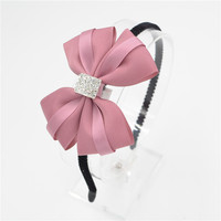 Women Girls lady Fashion Bow diamond Headband Hairband bowknot silk Elegant Hair Bands Holder Hoop headwear hair accessories