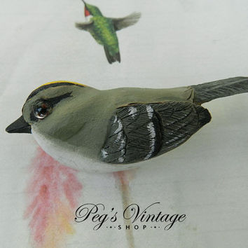 Vintage Carved Wood Hand Painted Bird Brooch, Artist Signed Song Bird Brooch, Folk Art Jewelry Pin