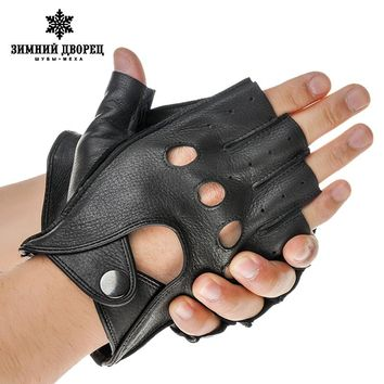 Fashion leather gloves men,black sheepskin male leather gloves,Punk style fingerless leather gloves,Hollow design