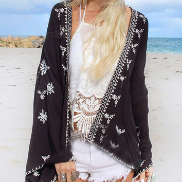 Black Floral Open Front Flared Sleeve Beach Kimono Top